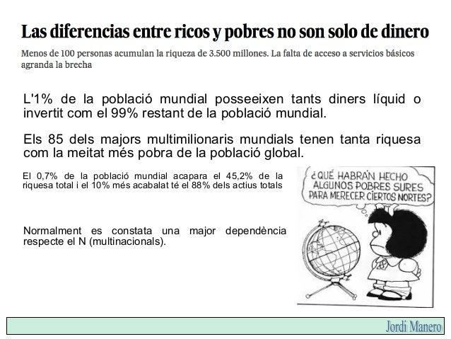 En els països rics hi ha una clara tendència a accelerar les diferències socials. En els països pobres també es disparen l...