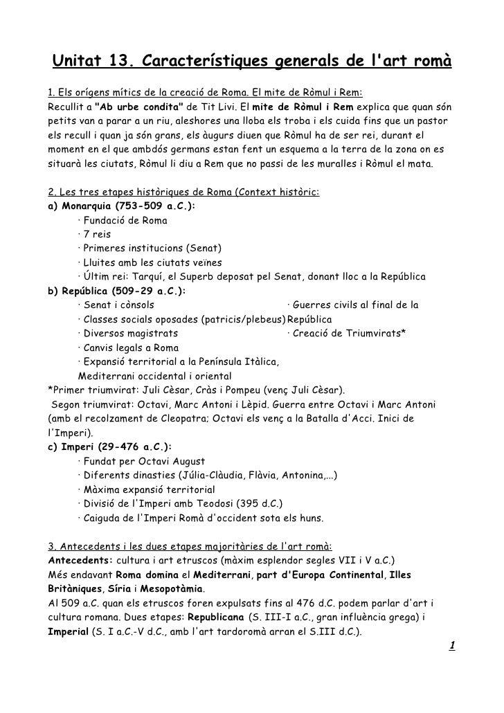 Unitat 13. Característiques generals de l'art romà 1. Els orígens mítics de la creació de Roma. El mite de Ròmul i Rem: Re...