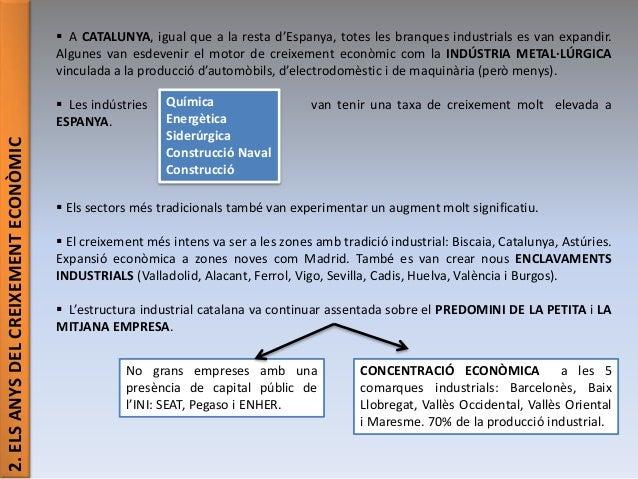 2.ELSANYSDELCREIXEMENTECONÒMIC  A CATALUNYA, igual que a la resta d'Espanya, totes les branques industrials es van expand...