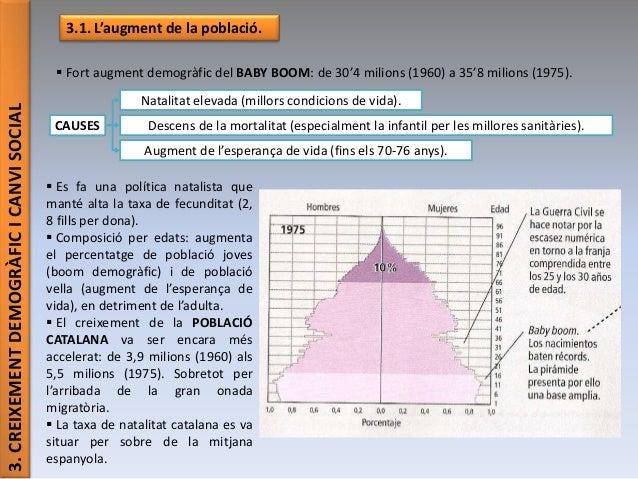 3.CREIXEMENTDEMOGRÀFICICANVISOCIAL 3.1. L'augment de la població.  Fort augment demogràfic del BABY BOOM: de 30'4 milions...