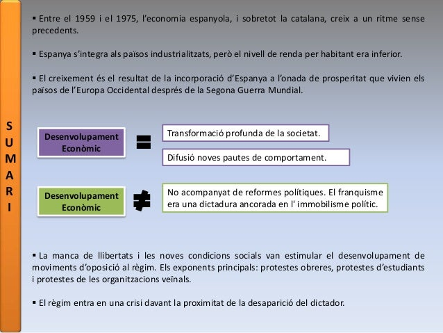 S U M A R I  Entre el 1959 i el 1975, l'economia espanyola, i sobretot la catalana, creix a un ritme sense precedents.  ...
