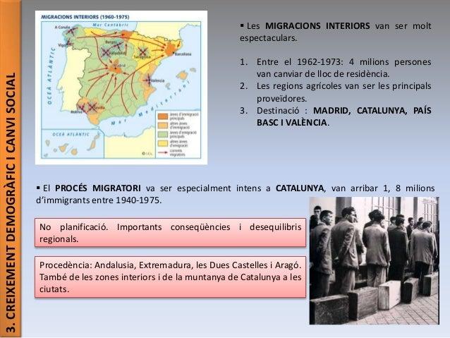 3.CREIXEMENTDEMOGRÀFICICANVISOCIAL  Les MIGRACIONS INTERIORS van ser molt espectaculars. 1. Entre el 1962-1973: 4 milions...