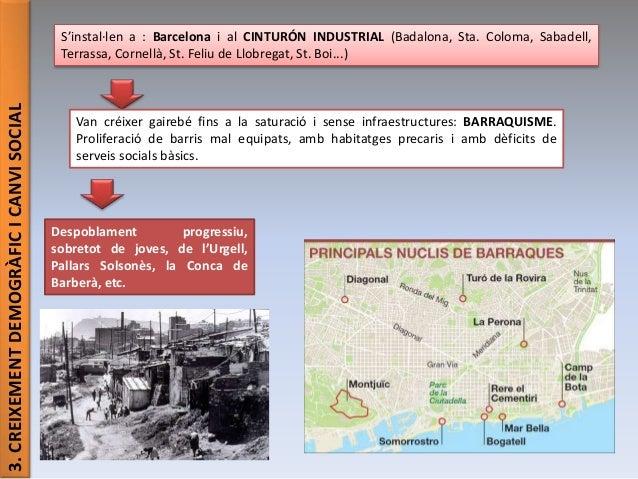 3.CREIXEMENTDEMOGRÀFICICANVISOCIAL S'instal·len a : Barcelona i al CINTURÓN INDUSTRIAL (Badalona, Sta. Coloma, Sabadell, T...