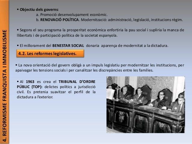 4.REFORMISMEFRANQUISTAIIMMOBILISME  Objectiu dels governs: a. Promoció desenvolupament econòmic. b. RENOVACIÓ POLÍTICA. M...