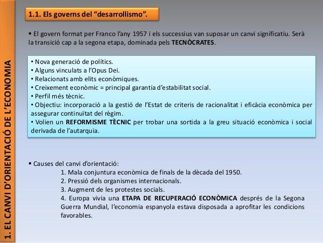 """1.ELCANVID'ORIENTACIÓDEL'ECONOMIA 1.1. Els governs del """"desarrollismo"""".  El govern format per Franco l'any 1957 i els suc..."""