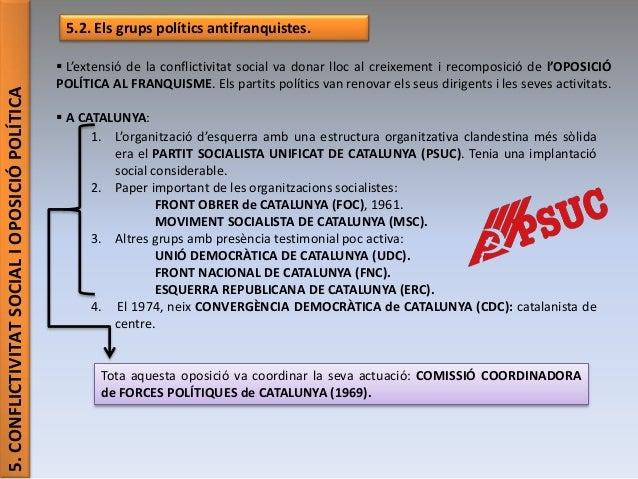 5.CONFLICTIVITATSOCIALIOPOSICIÓPOLÍTICA 5.2. Els grups polítics antifranquistes.  L'extensió de la conflictivitat social ...