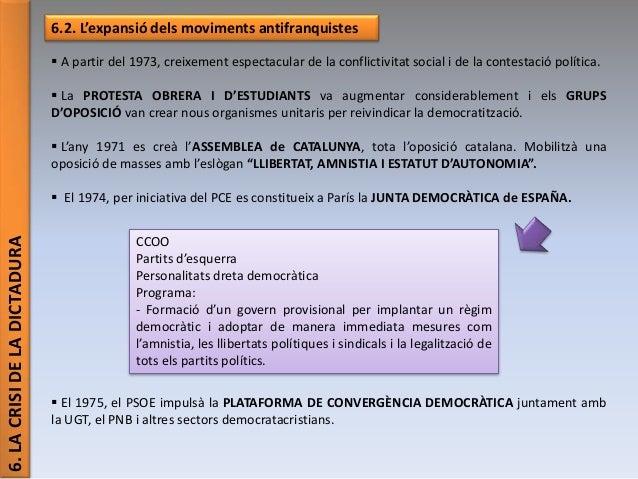6.LACRISIDELADICTADURA 6.2. L'expansió dels moviments antifranquistes  A partir del 1973, creixement espectacular de la c...