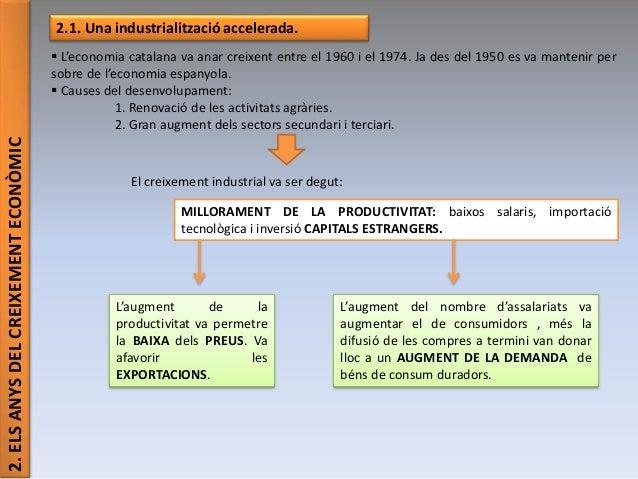 2.ELSANYSDELCREIXEMENTECONÒMIC 2.1. Una industrialització accelerada.  L'economia catalana va anar creixent entre el 1960...