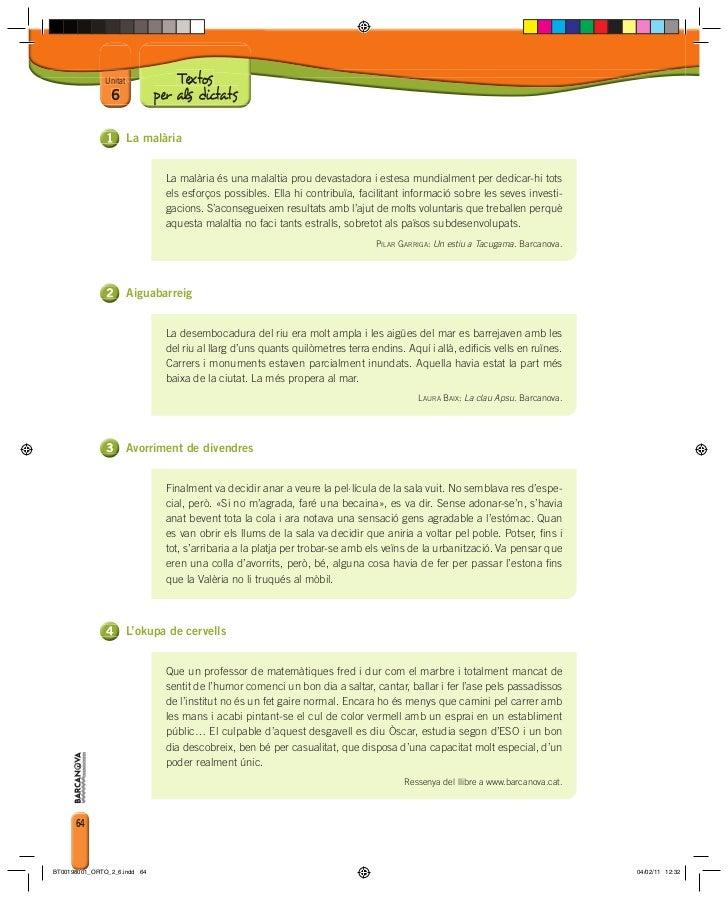 Unitat             Textos                6             per als dictats                        La malària                  ...