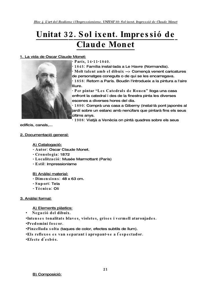 Bloc 4. L'art del Realisme i l'Impressionisme. UNITA 32: Sol ixent. Impressió de Claude Monet                             ...