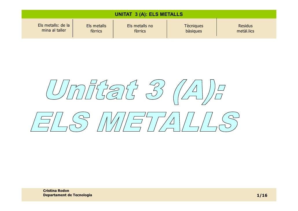 UNITAT 3 (A): ELS METALLS  Els metalls: de la      Els metalls       Els metalls no          Tècniques   Residus   mina al...
