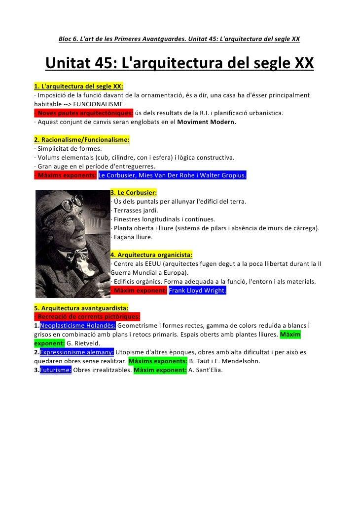 Bloc 6. L'art de les Primeres Avantguardes. Unitat 45: L'arquitectura del segle XX      Unitat 45: L'arquitectura del segl...
