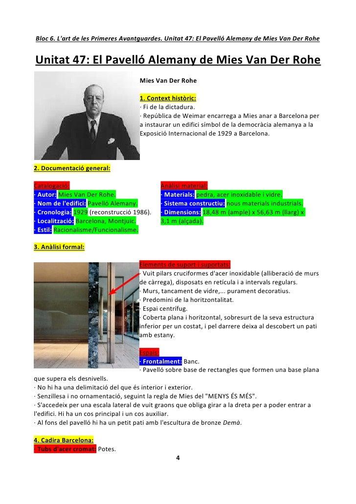 Bloc 6. L'art de les Primeres Avantguardes. Unitat 47: El Pavelló Alemany de Mies Van Der Rohe   Unitat 47: El Pavelló Ale...