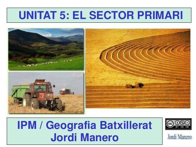 IPM / Geografia Batxillerat Jordi Manero UNITAT 5: EL SECTOR PRIMARI