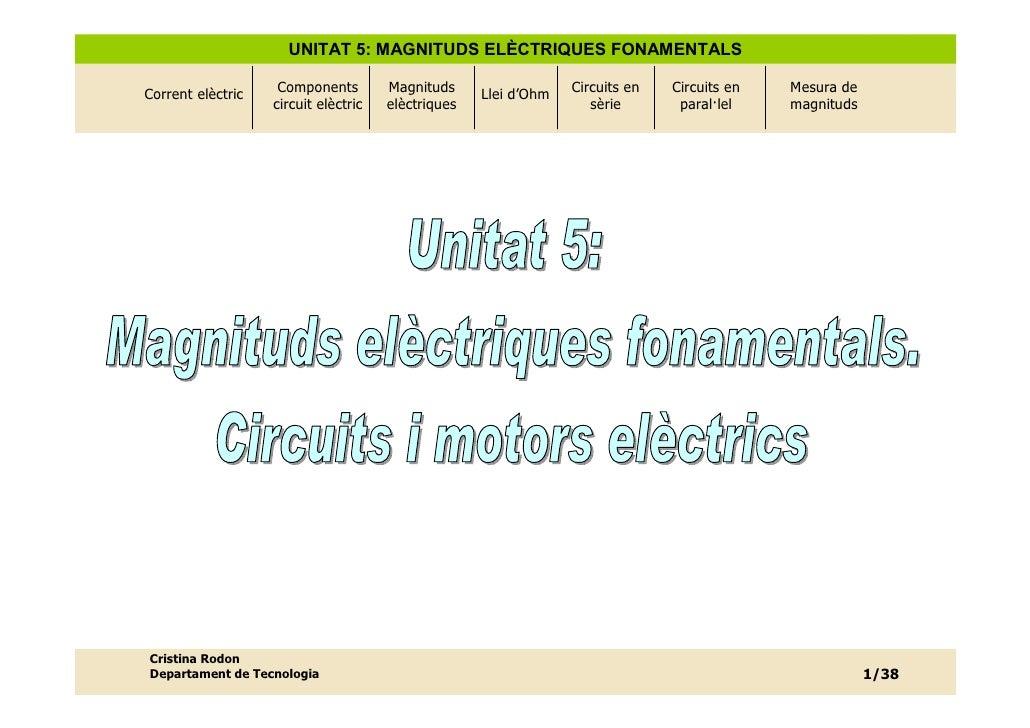 UNITAT 5: MAGNITUDS ELÈCTRIQUES FONAMENTALS  Corrent elèctric    Components        Magnituds     Llei d'Ohm   Circuits en ...