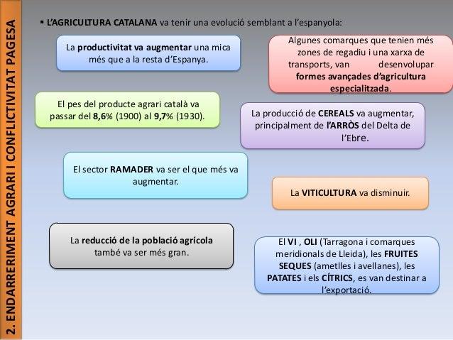 2. ENDARRERIMENT AGRARI I CONFLICTIVITAT PAGESA   L'AGRICULTURA CATALANA va tenir una evolució semblant a l'espanyola: La...