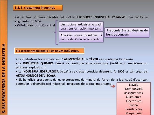 3.2. El creixement industrial.  3. ELS PROCESSOS DE LA INDÚSTRIA   A les tres primeres dècades del s.XX el PRODUCTE INDUS...