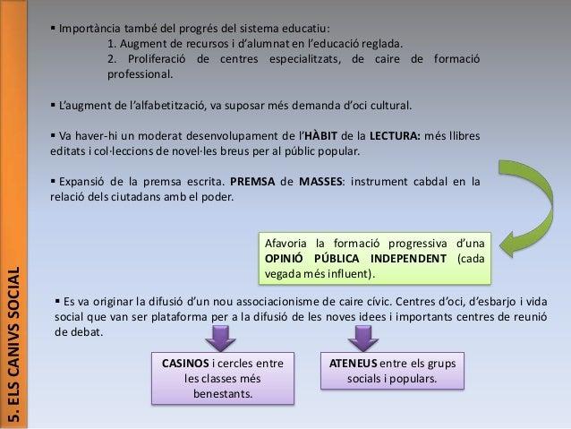  Importància també del progrés del sistema educatiu: 1. Augment de recursos i d'alumnat en l'educació reglada. 2. Prolife...