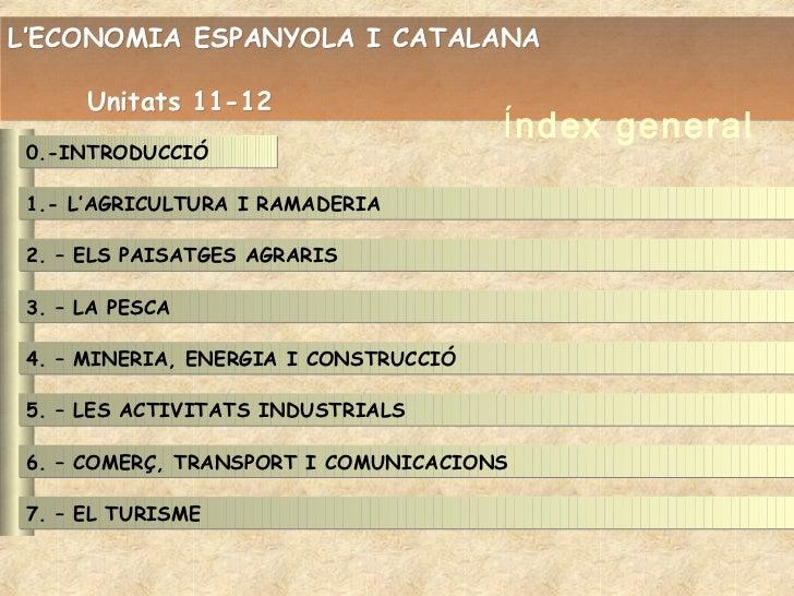 L'ECONOMIA ESPANYOLA I CATALANA      Unitats 11-12                                       Índex general 0.-INTRODUCCIÓ 1.- ...