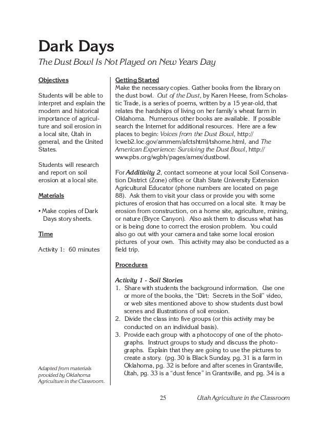 Unit dirt – Dust Bowl Worksheet
