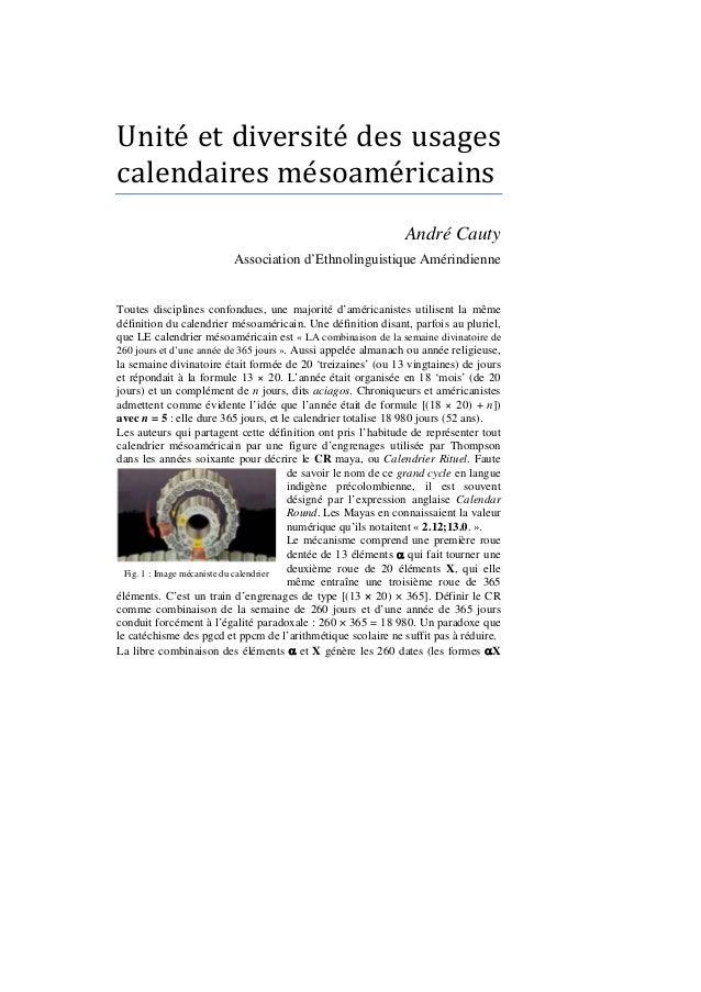Unité et diversité des usagescalendaires mésoaméricains                                                               ...