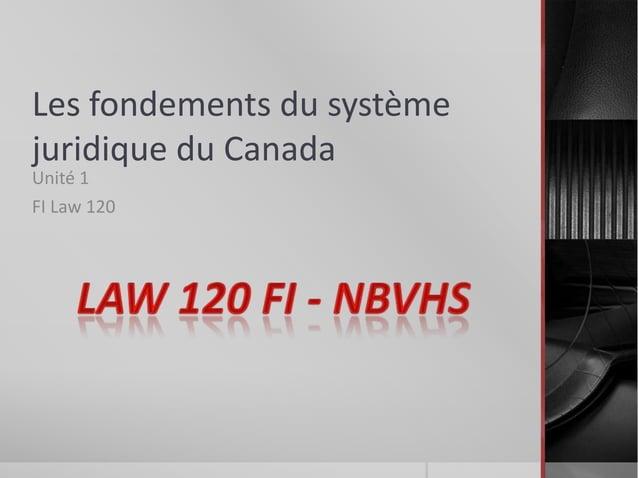 Les fondements du système juridique du Canada Unité 1 FI Law 120