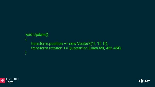 void Update() { transform.position += new Vector3(1f, 1f, 1f); transform.rotation += Quaternion.Euler(45f, 45f, 45f); } X
