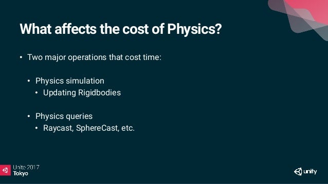 Cost of 1000 Raycasts times in ms 10 Colliders 100 Colliders 1000 Colliders Sphere 0.27 0.48 1.53 Box 0.34 0.42 1.67 Mesh ...
