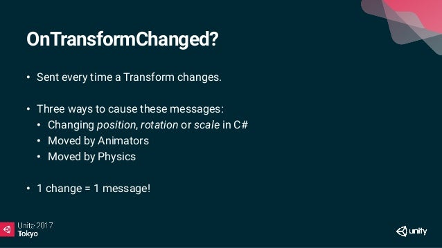 Why is this expensive? • Message is sent to all Components on Transform & all Children • Yes, ALL. • Physics components wi...
