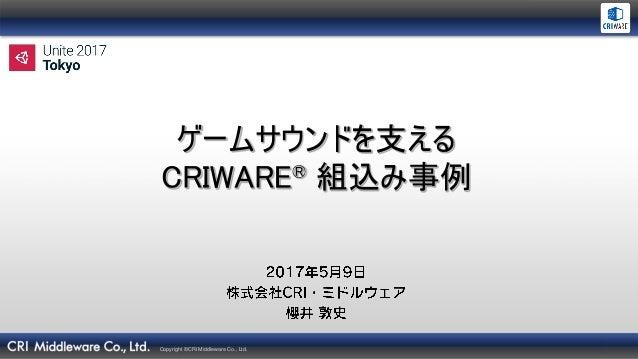 Copyright ©CRI Middleware Co., Ltd. ゲームサウンドを支える CRIWARE® 組込み事例