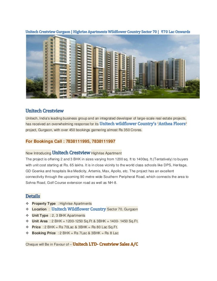 Unitech Crestview Gurgaon | Highrise Apartments Wildflower Country Sector 70 | ₹70 Lac OnwardsUnitech CrestviewUnitech, In...