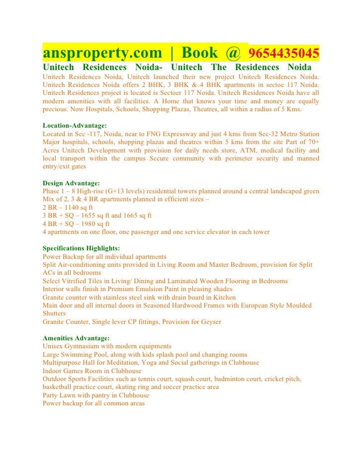 ansproperty.com | Book @ 9654435045Unitech Residences Noida- Unitech The Residences NoidaUnitech Residences Noida, Unitech...