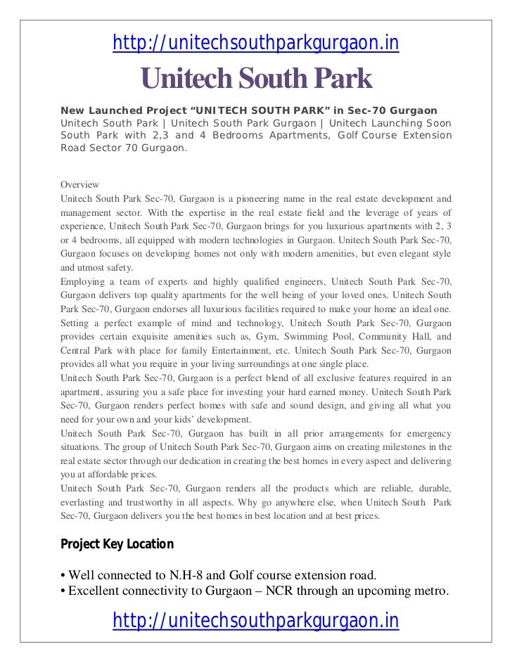 "http://unitechsouthparkgurgaon.in                    Unitech South ParkNew Launched Project ""UNITECH SOUTH PARK"" in Sec-70..."