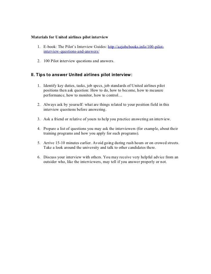 2 materials for united airlines pilot interview - Airline Pilot Job Interview Questions And Answers