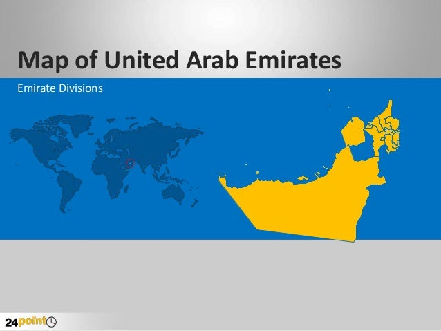 United arab emirates uae map powerpoint slides map of united arab emirates emirate divisions toneelgroepblik Image collections