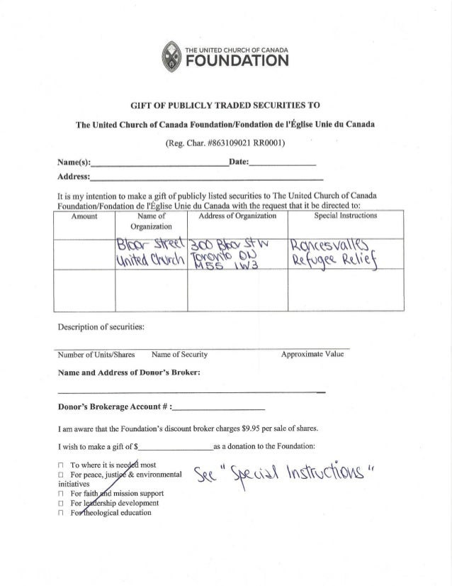 United church foundation transfer form