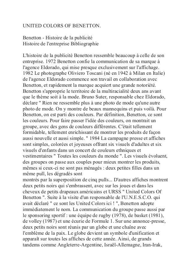 UNITED COLORS OF BENETTON.Benetton - Histoire de la publicitéHistoire de lentreprise BibliographieLhistoire de la publicit...
