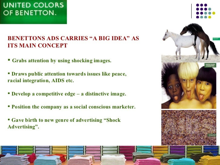 analysis on benettons advertisements Analysis of benettons 'burning car' ad this is an advert by the 'united colors of benetton' it shows a representation of a burning car.