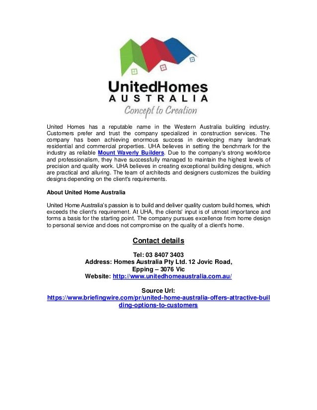 United Home Australia Offers Attractive Building Options To