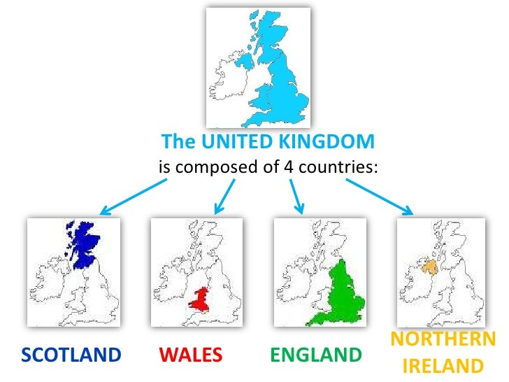 Map Of Uk Showing 4 Countries.United Kingdom