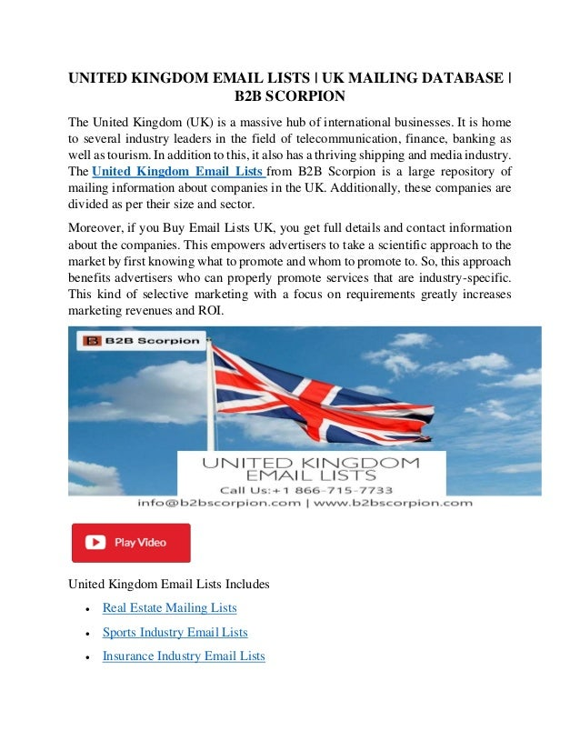 UNITED KINGDOM EMAIL LISTS | UK MAILING DATABASE | B2B SCORPION