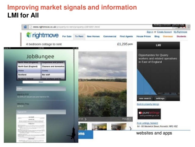 Improving market signals and information LMI for All Data sources will be pulled or pushed into LMI for All  LMI for All w...