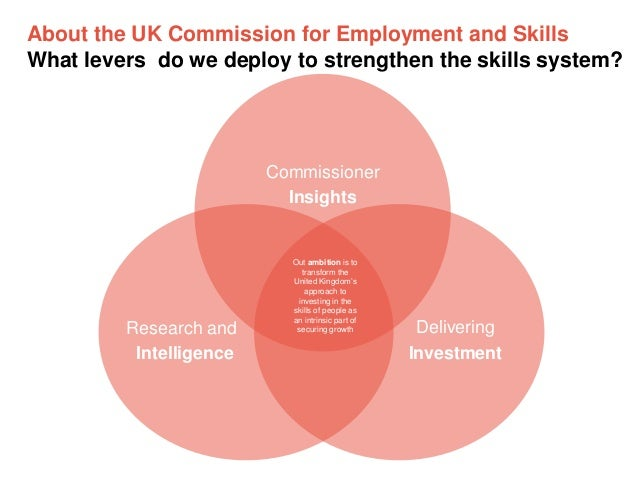 About the UK Commission for Employment and Skills What levers do we deploy to strengthen the skills system?  Commissioner ...