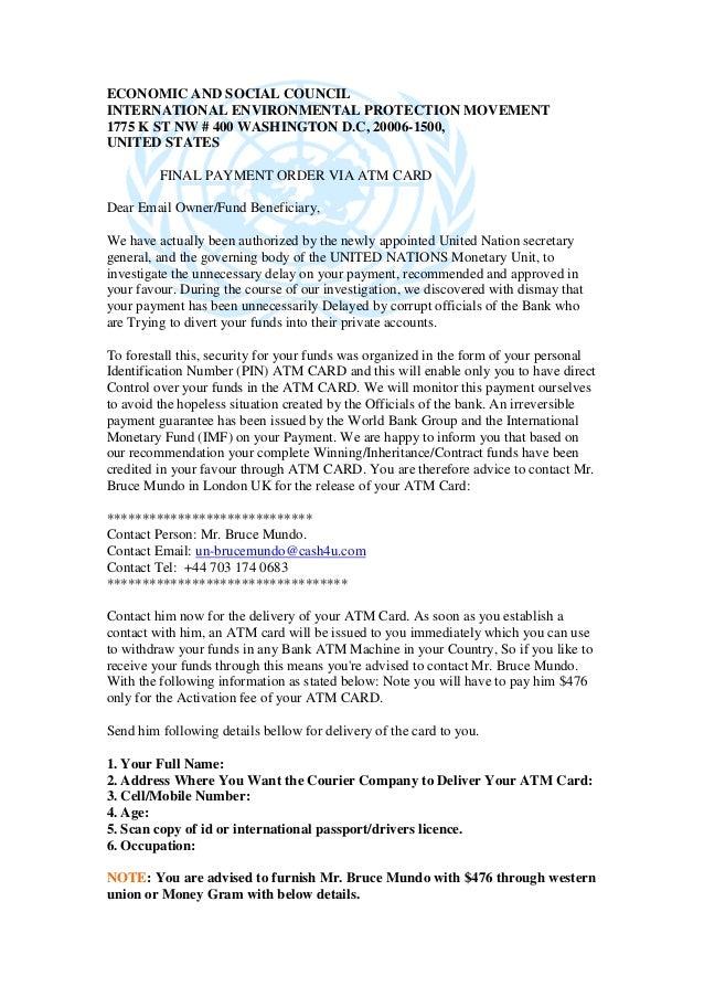 ECONOMIC AND SOCIAL COUNCIL INTERNATIONAL ENVIRONMENTAL PROTECTION MOVEMENT 1775 K ST NW # 400 WASHINGTON D.C, 20006-1500,...