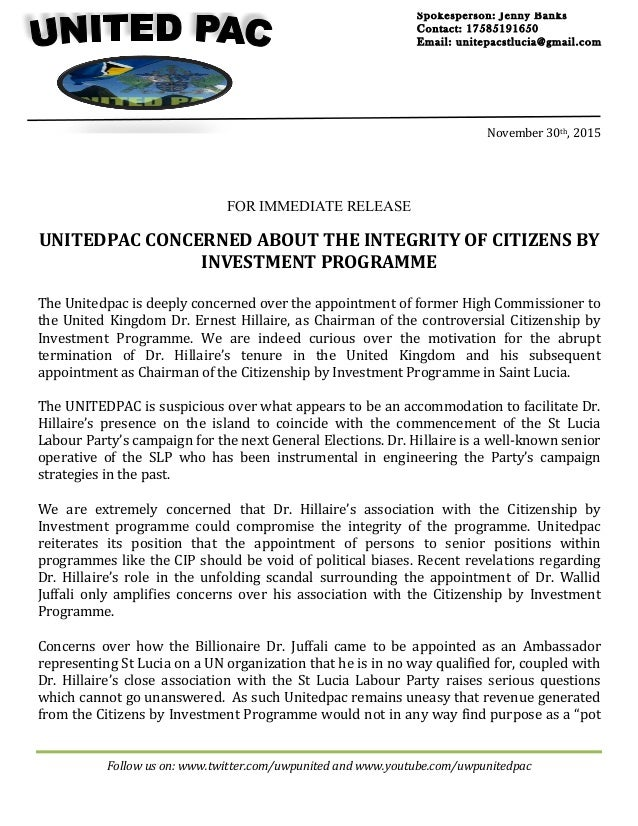 Unitedpac concerned about the integrity of the citizen by investment …