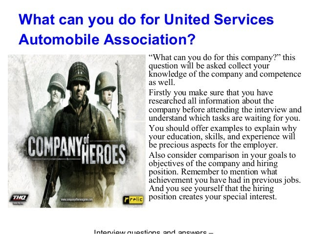 United services automobile association interview questions and answers