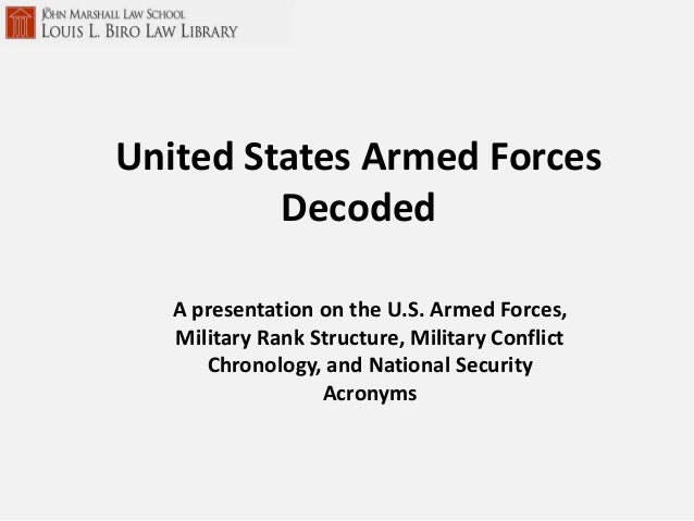 A presentation on the U.S. Armed Forces,Military Rank Structure, Military ConflictChronology, and National SecurityAcronym...