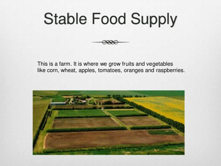 Stable Food SupplyThis is a farm. It is where we grow fruits and vegetableslike corn, wheat, apples, tomatoes, oranges and...