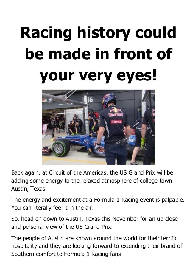 Racing history could be made in front of your very eyes! Back again, at Circuit of the Americas, the US Grand Prix will be...