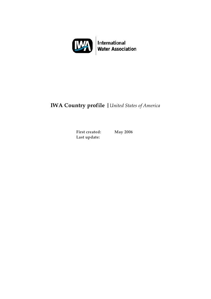 IWA Country profile |United States of America              First created:   May 2006           Last update: